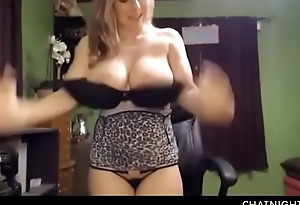 Amazing fair-haired mommy with huge bleary tits engulfing dildo and spraying milk for strangers delight on movie chat
