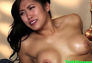 Trimmed asian babe tricked away from her masseur