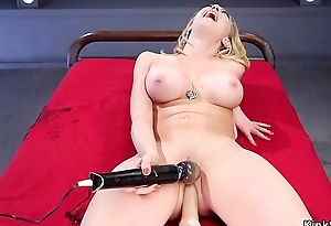 Busty acquires gadgetry in pierced pussy