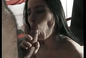 Natural titted brunette rides a dick and acquires cum on her face