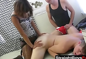Strapon clad babe drills amateur youngster before triune