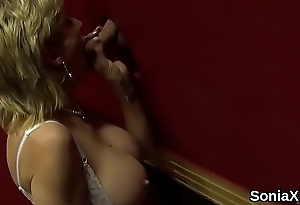 Unfaithful british milf laddie sonia showcases her large tits