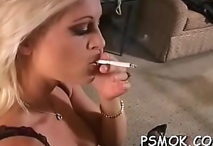 Crestfallen vacant babe provoking during in a predicament turn this way smoking a away exhaust