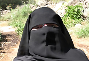 Cum out of reach of her niqab