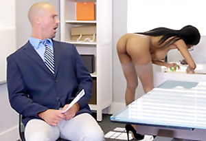 Brittney Lacklustre gets first of all the phone with her employee's wife while seducing him
