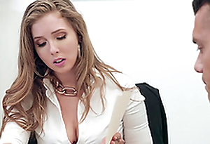 Buxom blonde secretary Lena Paul gets cum overhead huge tits at the office