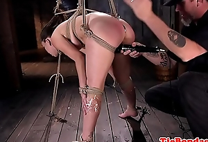 Submissive beauty spanked and sex toy fucked