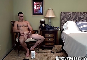 Husky soldier Alex James strokes long dick solitarily