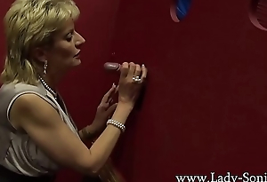 Busty British grown-up Nipper Sonia visits a gloryhole