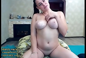 Busty camgirl with oiled big boobs - live at link