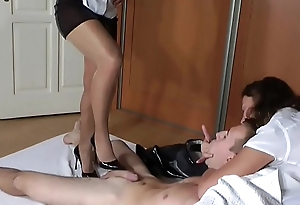 Double Shoejob in Disastrous High Heels and Glittering Pantyhoses - More Footjob Clips on SweetNylonFeet.com