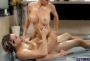 Alexis Fawx busty blonde milf riding cock after nuru massage